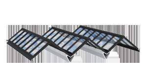 Atrium Verglasung: Satteldächer in Reihe