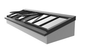 3D-Zeichnung: Pultdach mit Unterkonstruktion für flache Dächer